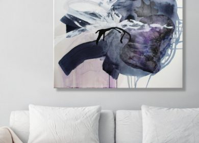 A large canvas print of abstract ocean art