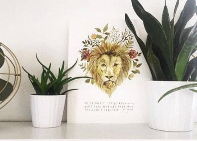 Aslan, illustrated in watercolor