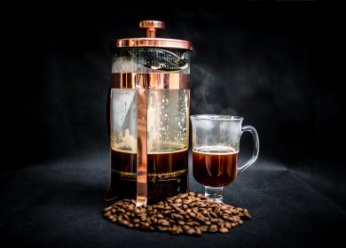 A french press coffee maker