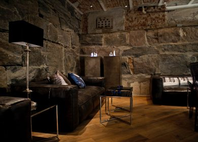 stone walls in a beautiful living space