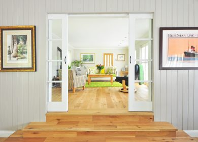 Painted wood plank walls